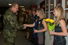 General Jan Gurnik, Czech Land Forces Commander congratulates to Jana Hierschova and her daughter Barbora