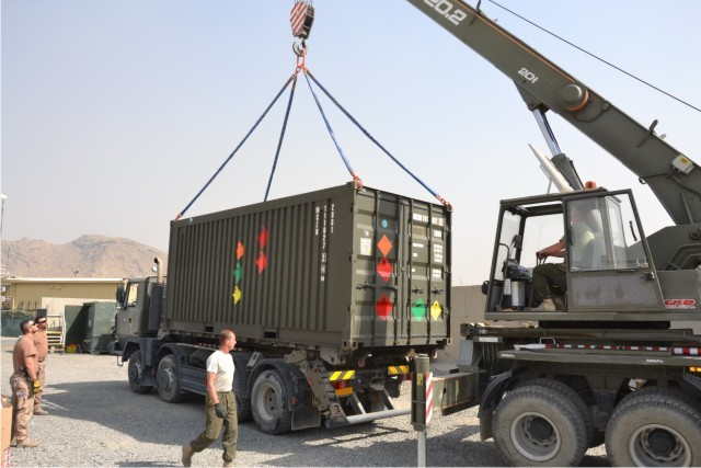 Logisticians during handling operations at the Base