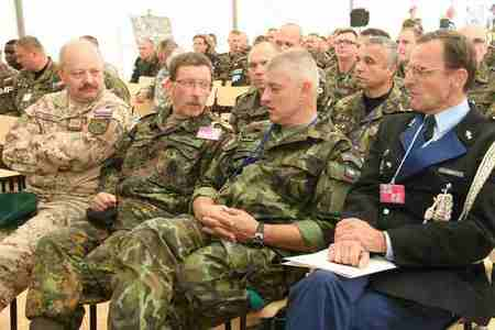 From the right: French Lieutenant Colonel Sebastien Dordhain (NATO Monitor), Czech Major General Frantisek Maleninsky, and German Lieutenant General Rainer Korff, Commander of the NATO Multinational Corps Northeast at the certification ceremony