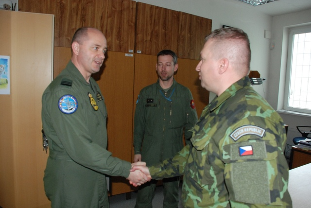 Deputy Commander of the Namest Air Base Colonel Miroslav Svoboda meeting Commander of the Belgian unit, Lieutenant Colonel Wim Schoepen