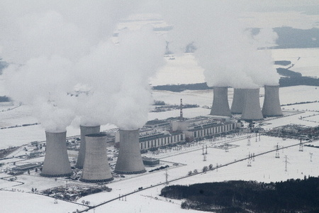 All eight cooling towers of the Dukovany nuclear power plant