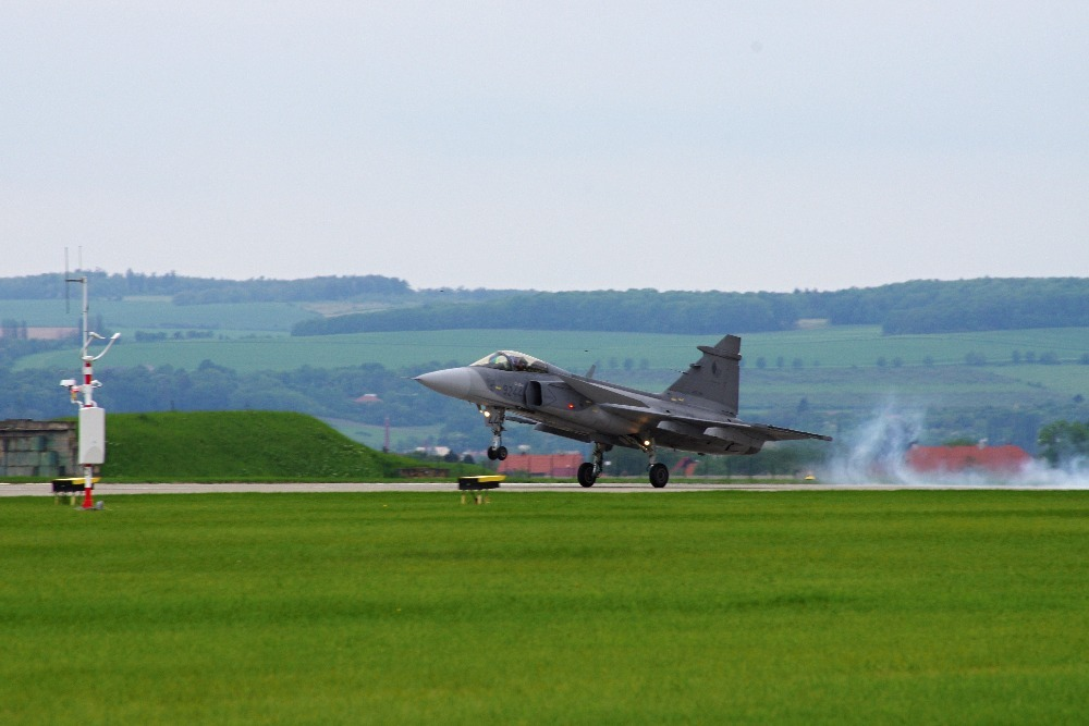 The SAAB 39 Gripen taking off