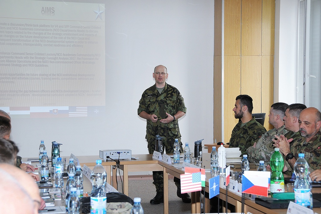 The Command Senior Enlisted Leader of the Armed Forces of the Czech Republic, Command Sergeant Major Petr Seifert, presenting goals set for the seminar