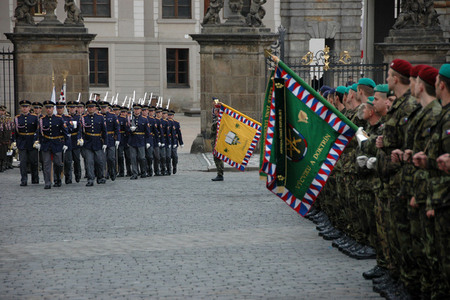 The Honour Guard enters the Prague Castle Square