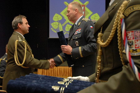 General Picek congratulates to a newly appointed Colonel