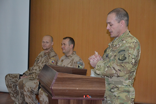 COL Henderson, Commander of the 438th Group, addressing the soldiers