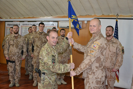 Major Chrobak accepting the flag of the 311th Squadron