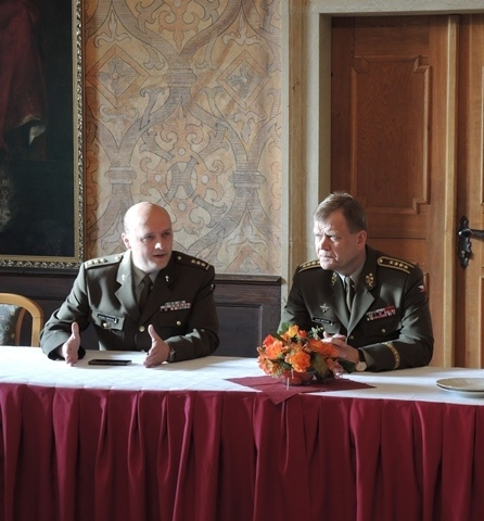 Colonel Knichal and General Becvar in discussion with the chaplains