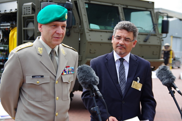 First Deputy Chief of the General Staff Major General Jiri Baloun and Deputy Defence Minister Tomas Kuchta at the press conference