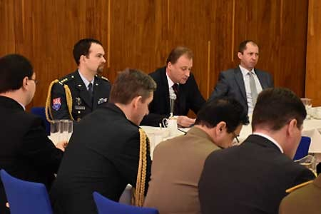 Czech Ambassador to Germany, Tomas Podivinsky (center) opening the meeting. The Czech Ministry of Defence was represented by the Chief of the Defense Attaché Office in Berlin and Deputy Chief of the General Staff of ACR.