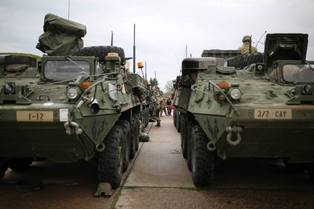 Strykers parked and lined up at Pardubice airport