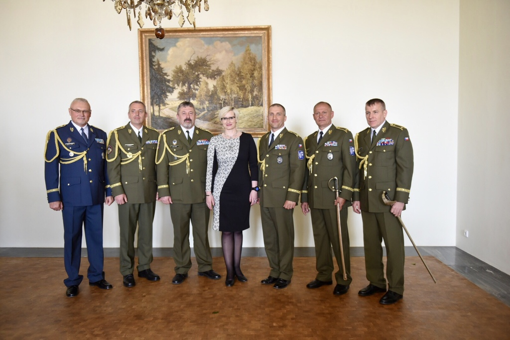 Lieutenant General Ales Opata and Minister Slechtova with the Generals at Prague Castle
