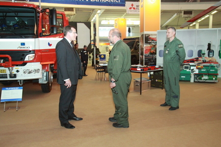 First Deputy Minister of Defence Jiri Sedivy visits fire-fighters/rescue service at the exhibition