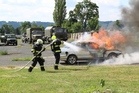 Vehicle transporting military material takes fire. Fortunately for exercise