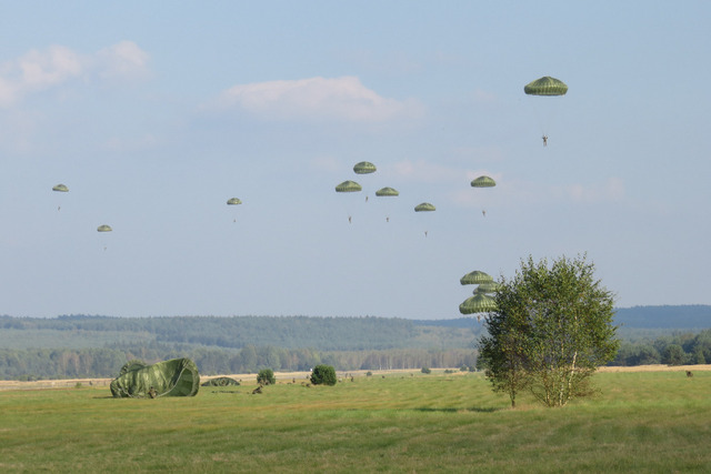 Paratroopers landing during the second round of air drops