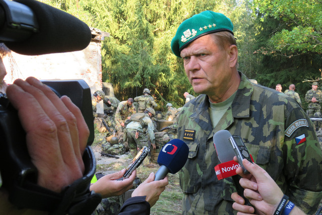 General Becvar answering journalists' questions