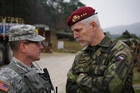 U.S. LTC Watkins in discussion with LTG Pavel, Czech Chief of the General Staff