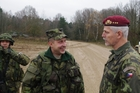 LTC Botik, commander of TF 72 speaks with LTG Pavel at the end of the exercise