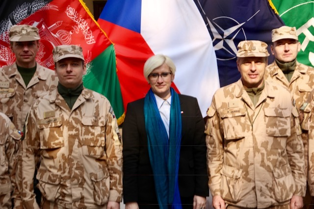Minister of Defence Karla Slechtova at the operation headquarters in Kabul