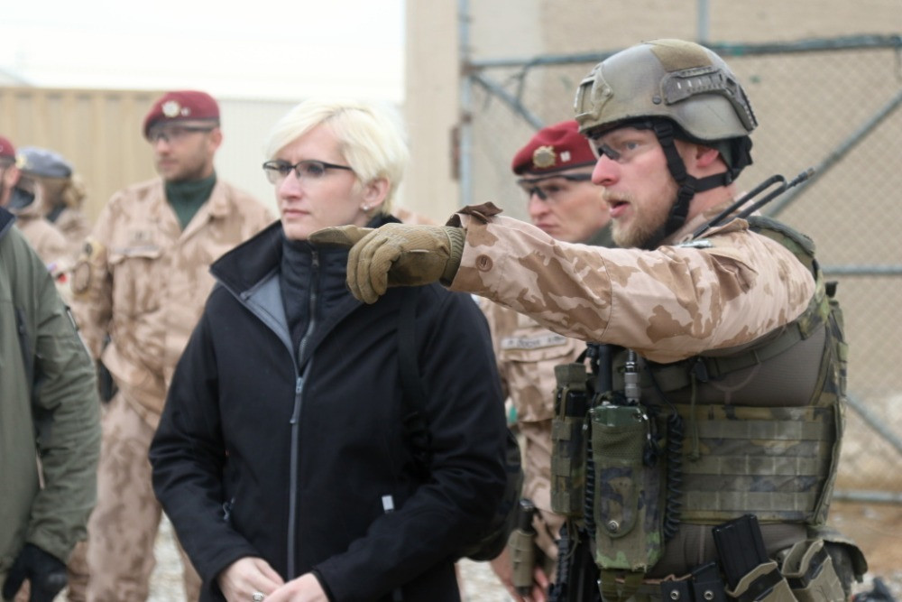 Minister Slechtova being briefed on soldiers' operational tasks in Afghanistan