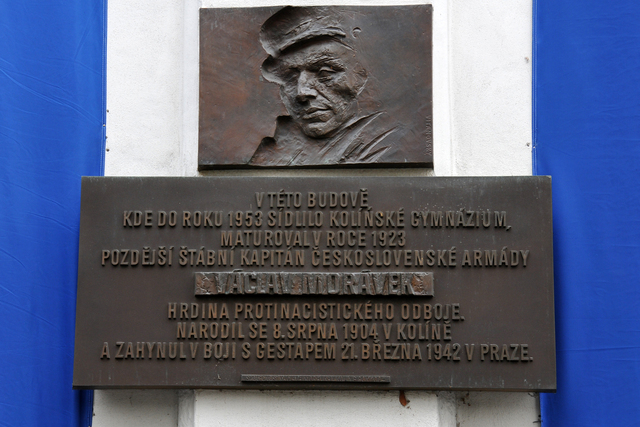 Memorial plaque of Vaclav Moravek at the building of the Commerce Academy in his native Kolin is from 11th September 2004