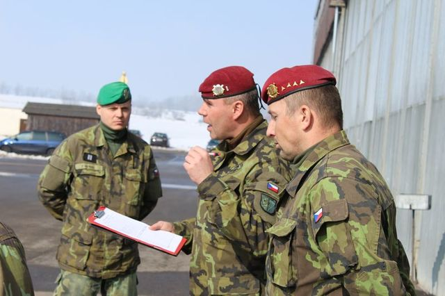 Warrant Officer Pavel Kopecky, Director of training, instructing the subordinate commanders