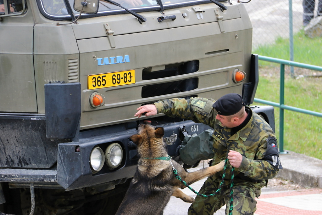 A military dog handler checking a truck entering the power plant