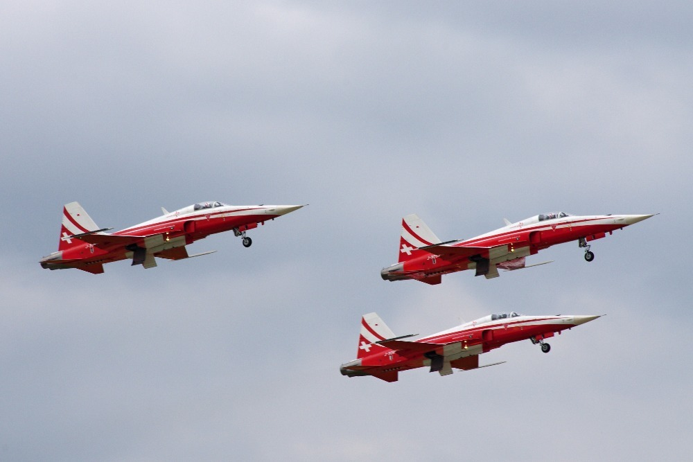 Patrouille Suisse military acrobatic group flying its F-5E Tiger II fighters