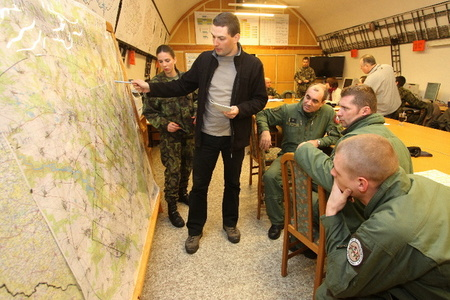 Briefing before air reconnaissance over affected area