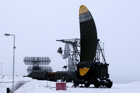 In front is a height radar PRV-17 at a combat part of the 6th Radiotechnical Company at Plana, and in the rear is a surveillance radar P-37
